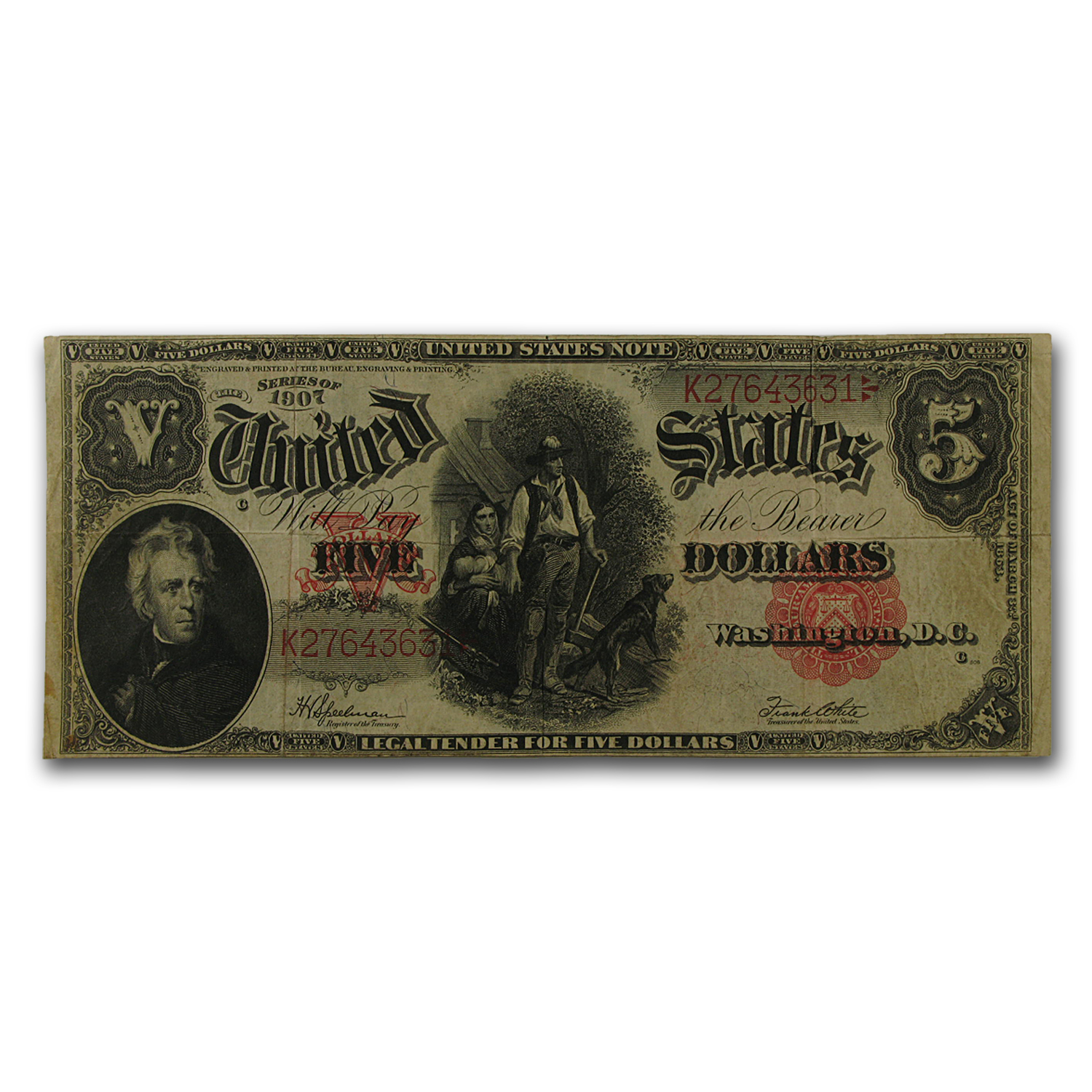 1907 $5.00 Legal Tender Andrew Jackson/Woodchopper Fine (FR#91)