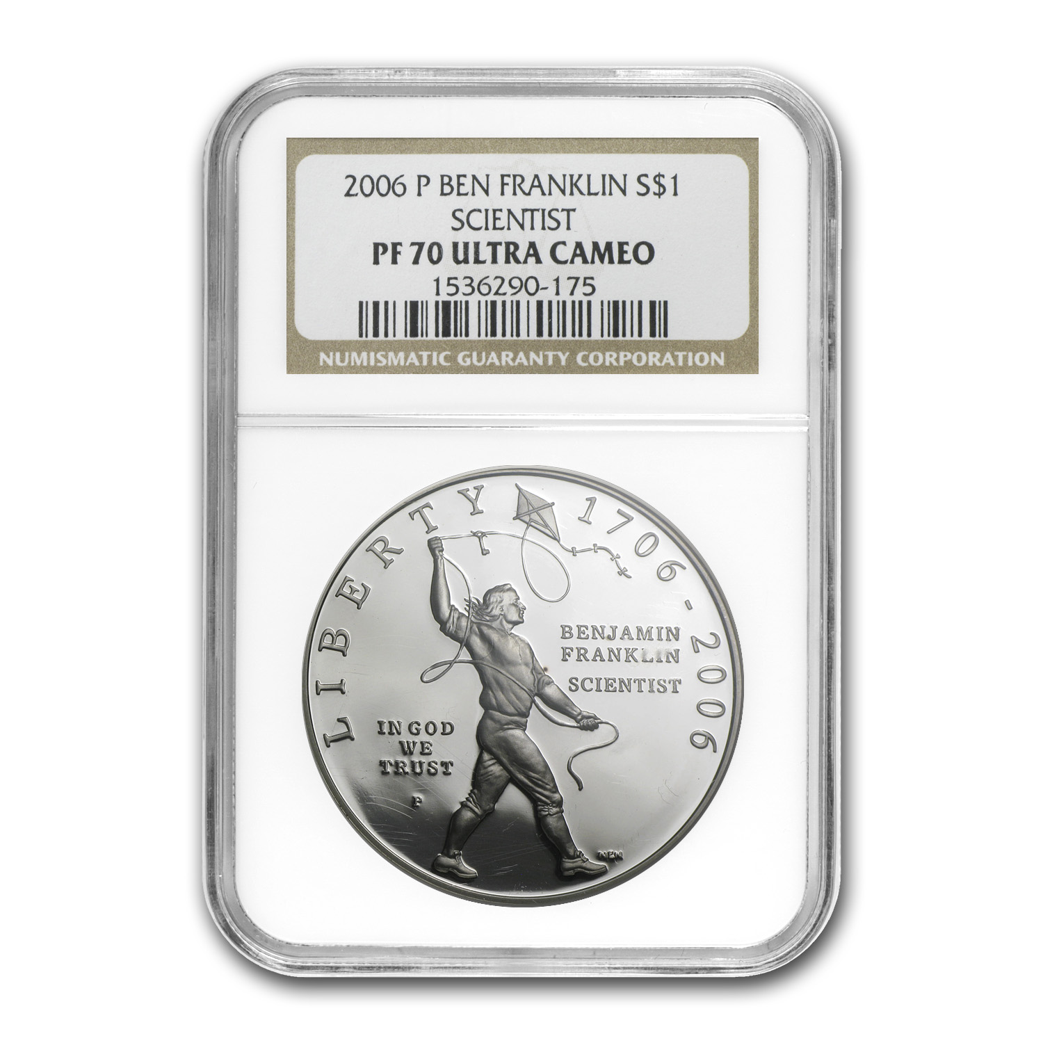2006-P Ben Franklin Scientist $1 Silver Commem PF-70 NGC