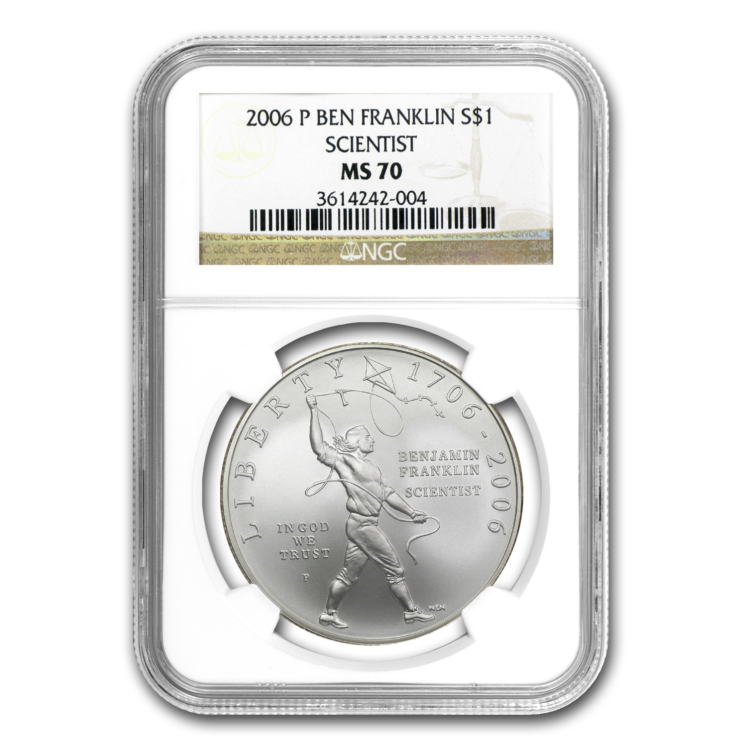 2006-P Ben Franklin Scientist $1 Silver Commem MS-70 NGC
