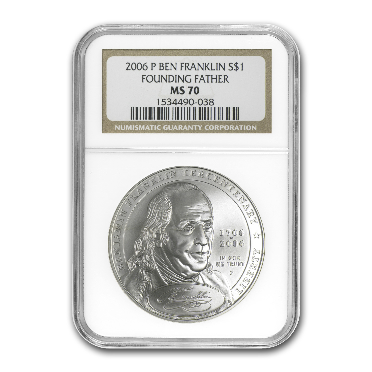 2006-P Ben Franklin Founding Father $1 Silver Commem MS-70 NGC
