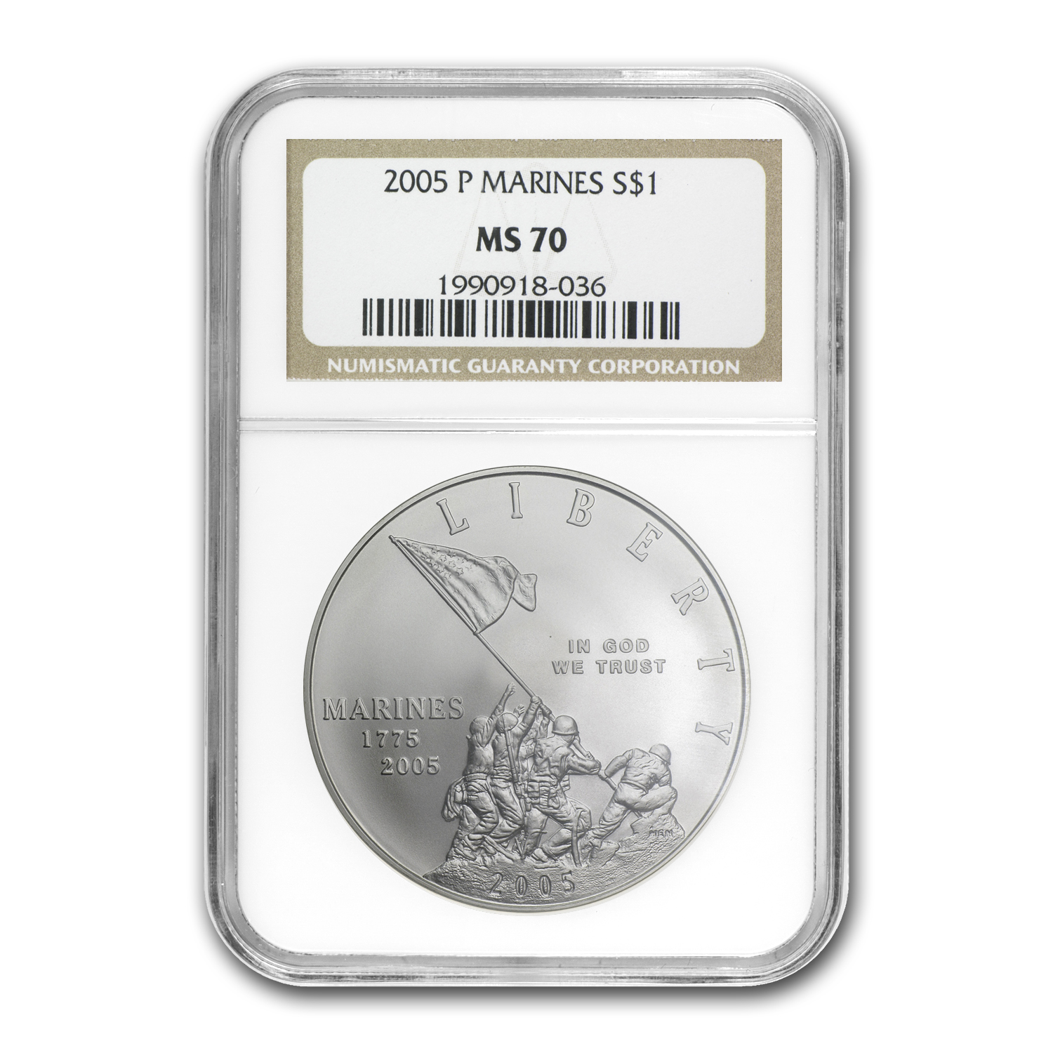 2005-P Marine Corps 230th Anniv $1 Silver Commem MS-70 NGC