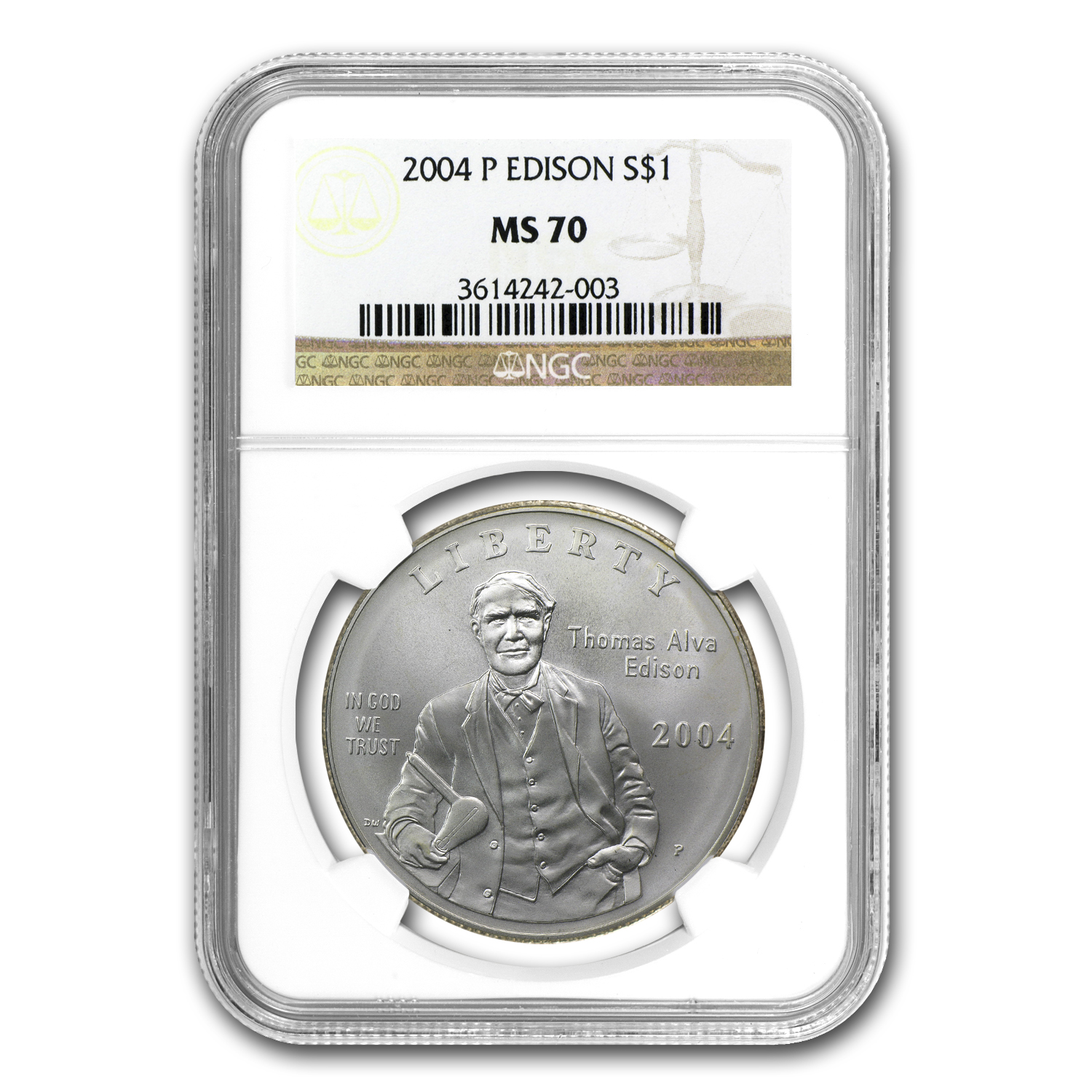 2004-P Thomas Edison $1 Silver Commemorative - MS-70 NGC