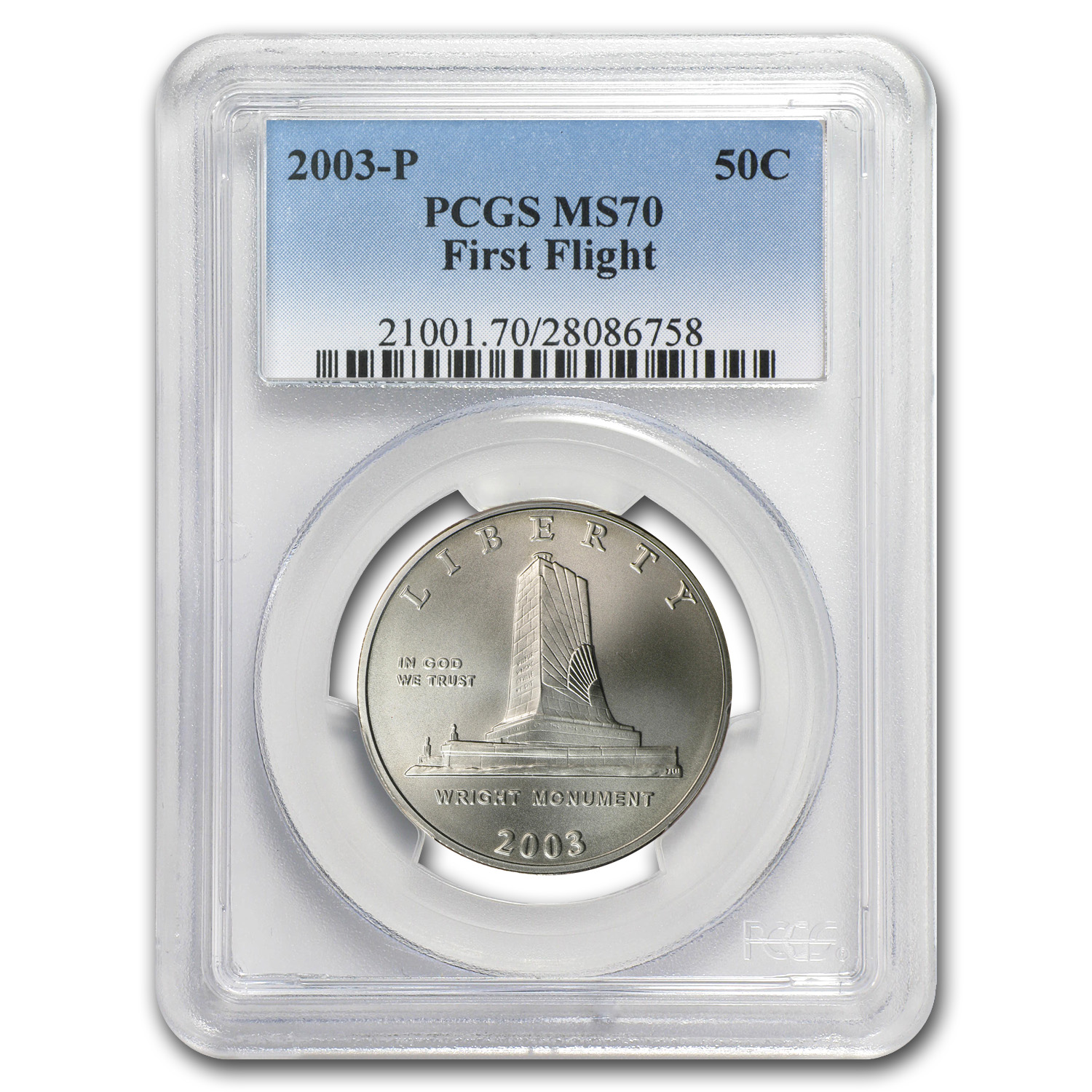 2003-P First Flight Centennial Half Dollar Clad Commem MS-70 PCGS