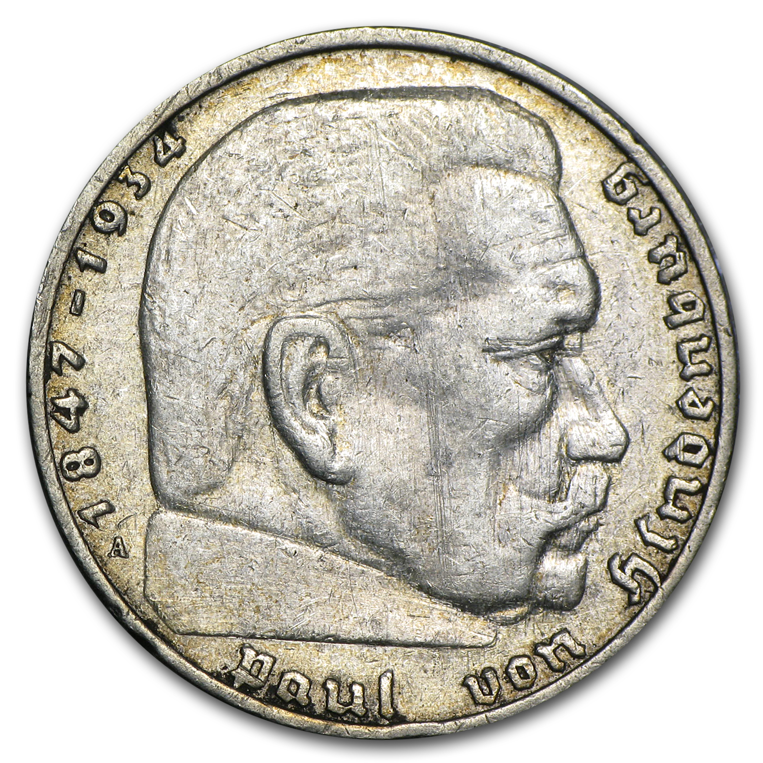 Germany 2 Mark Silver Hindenburg (Avg Circ) Random Date