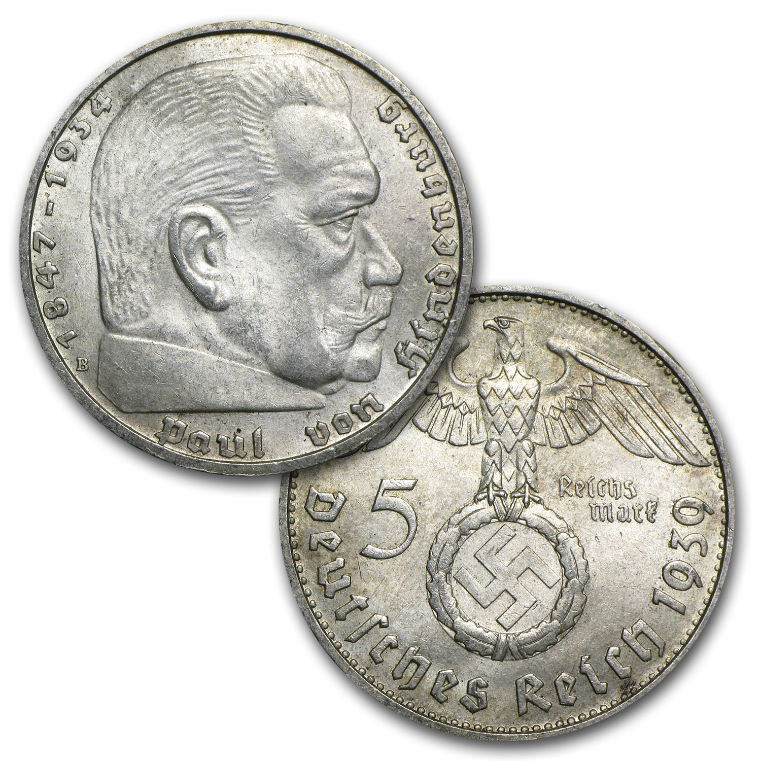 1936-1939 Germany 25-Coin Silver 5 Marks Hindenburg Set