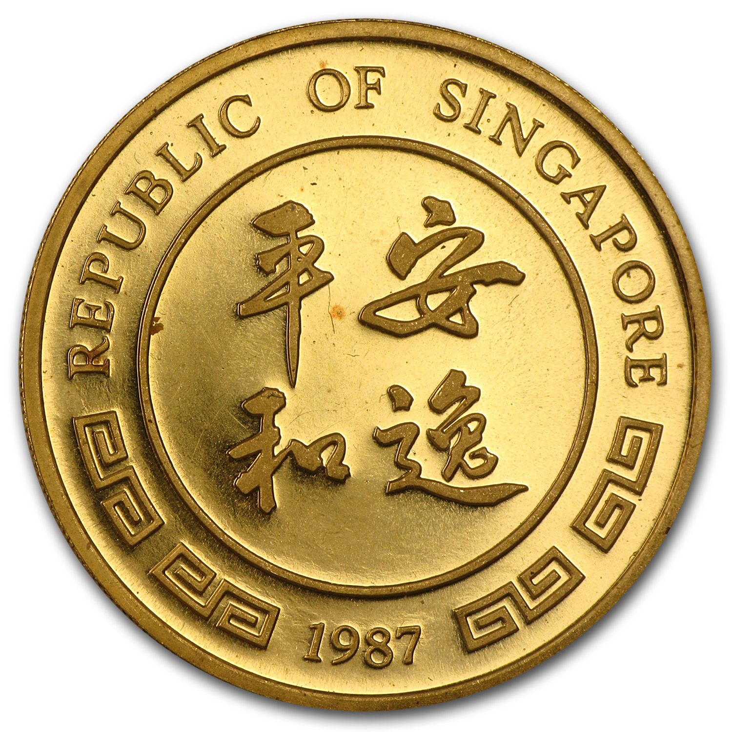 1987 Singapore 1 oz Gold 100 Singold Rabbit BU