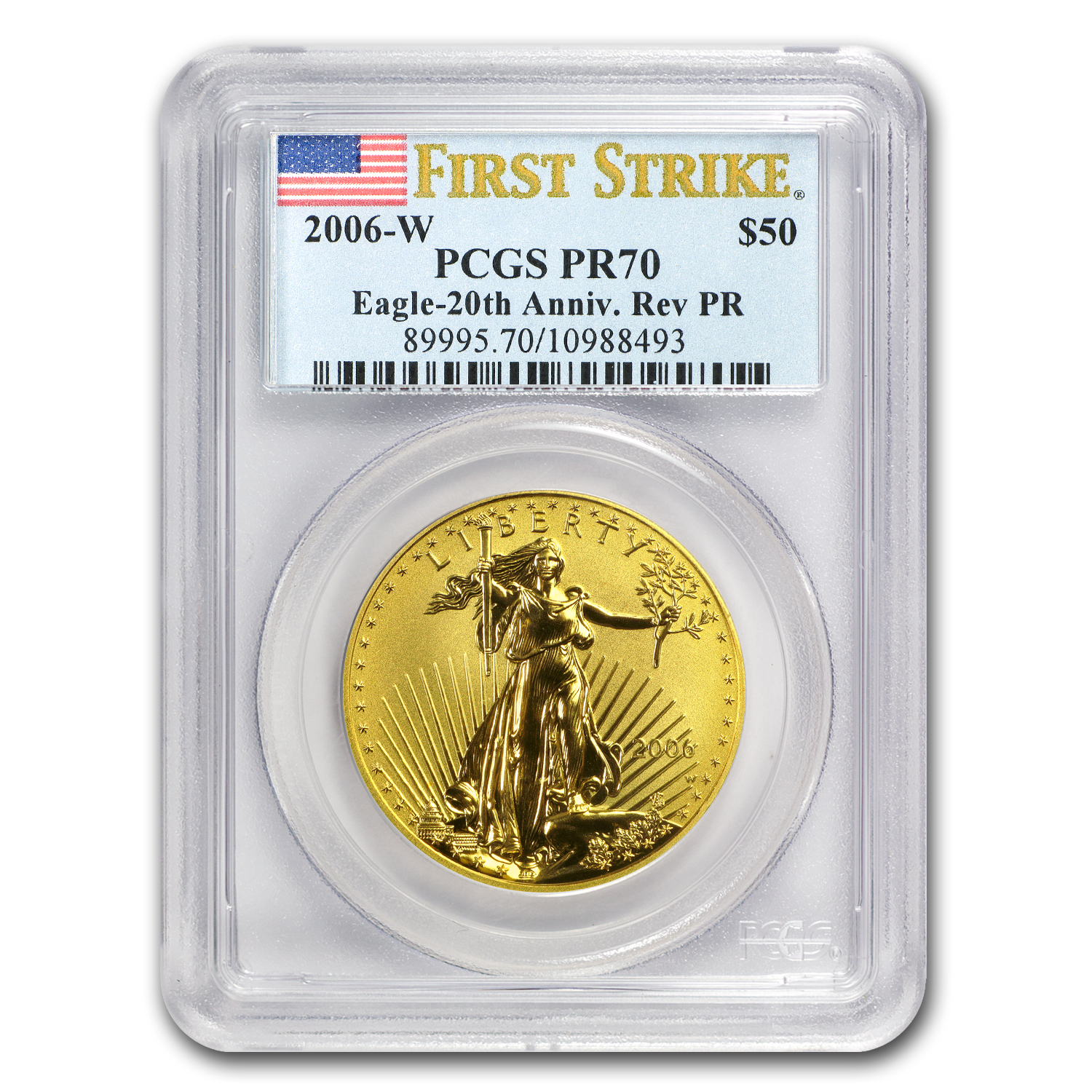 2006-W 1 oz Reverse Proof Gold American Eagle PR-70 PCGS (FS)