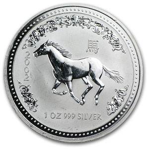 2002 1 oz Silver Lunar Year of the Horse (SI)(Light Abrasions)