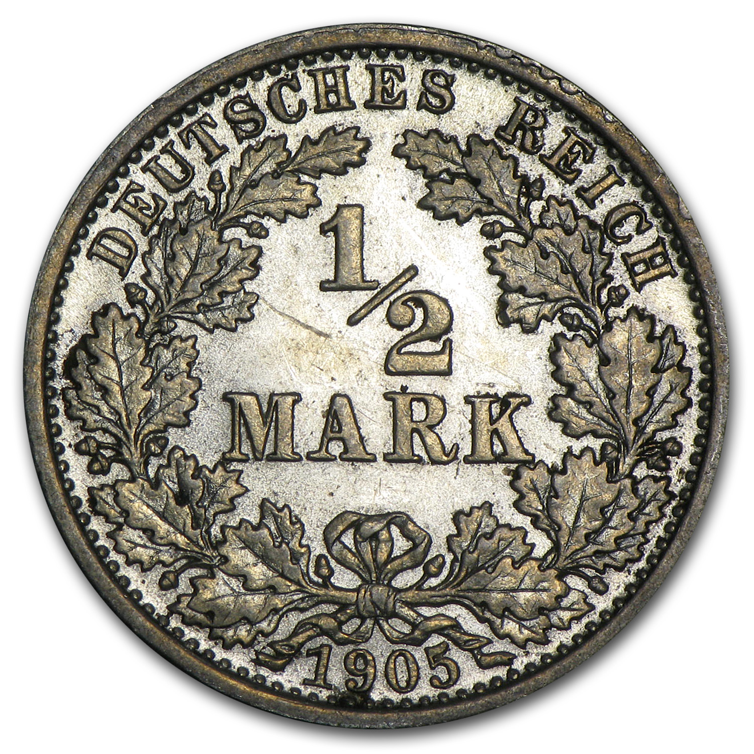 Germany 1905 Silver 1/2 Mark Uncirculated