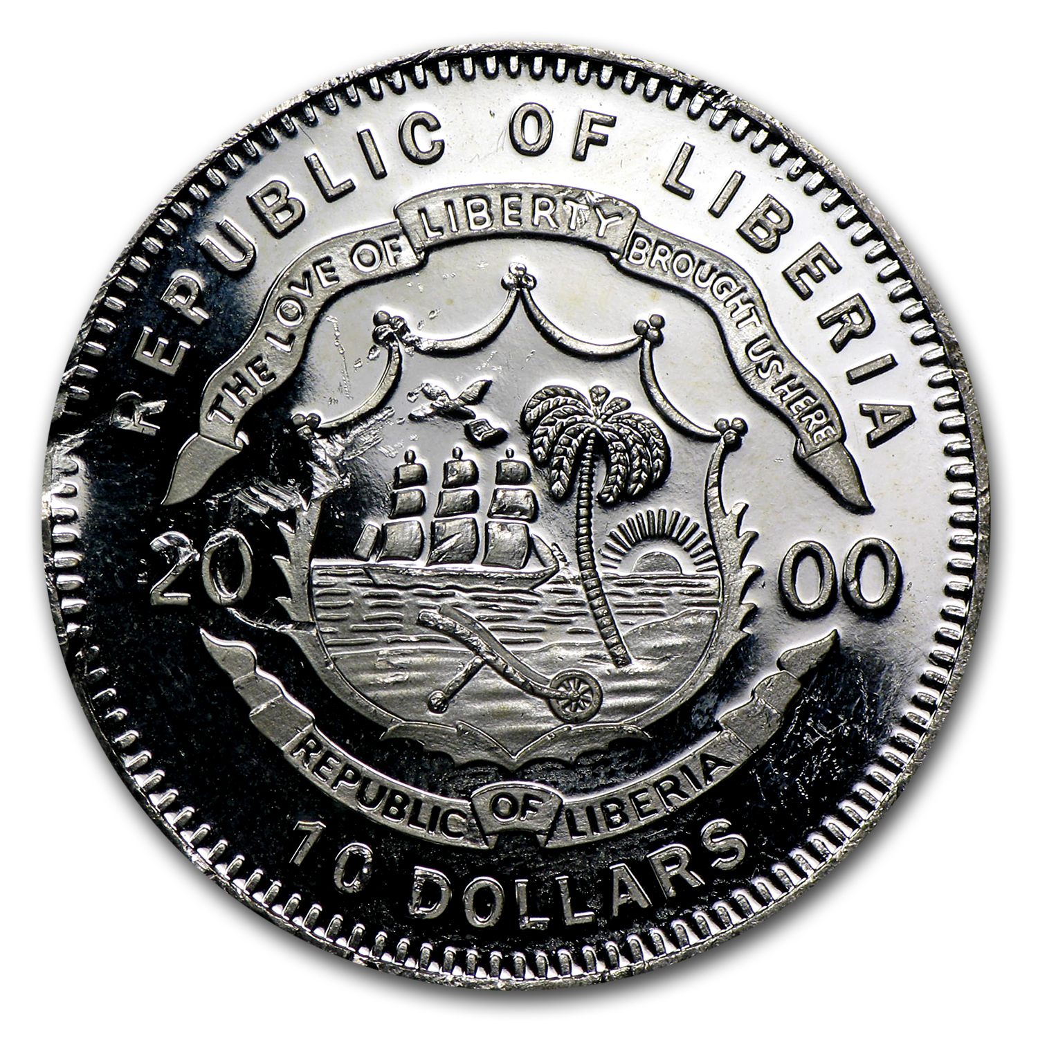Liberia $10 Proof .999 Silver Coins ASW .2746