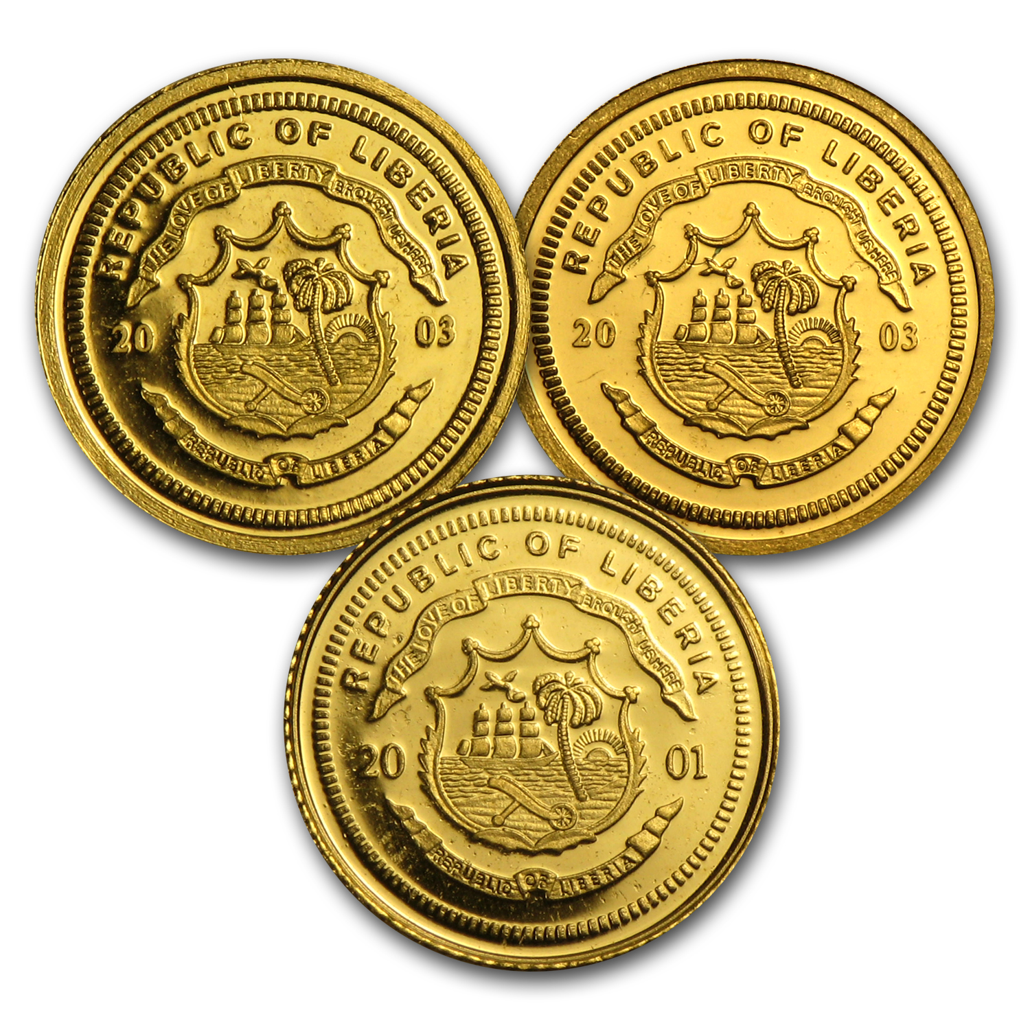 Liberia Proof Gold $25 (Random Dates)