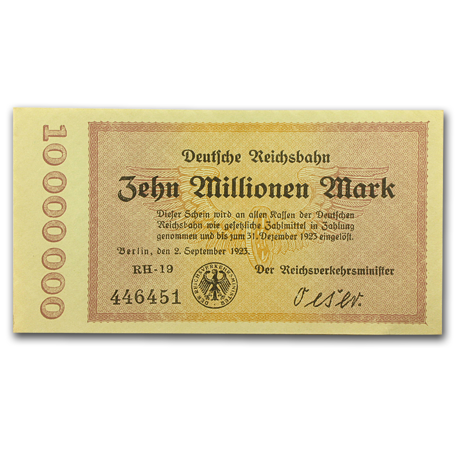 1923 Germany Weimar Republic 10 Million Mark Note