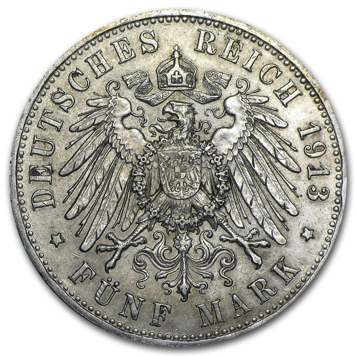 Prussia 5 Mark Silver Unc. Details