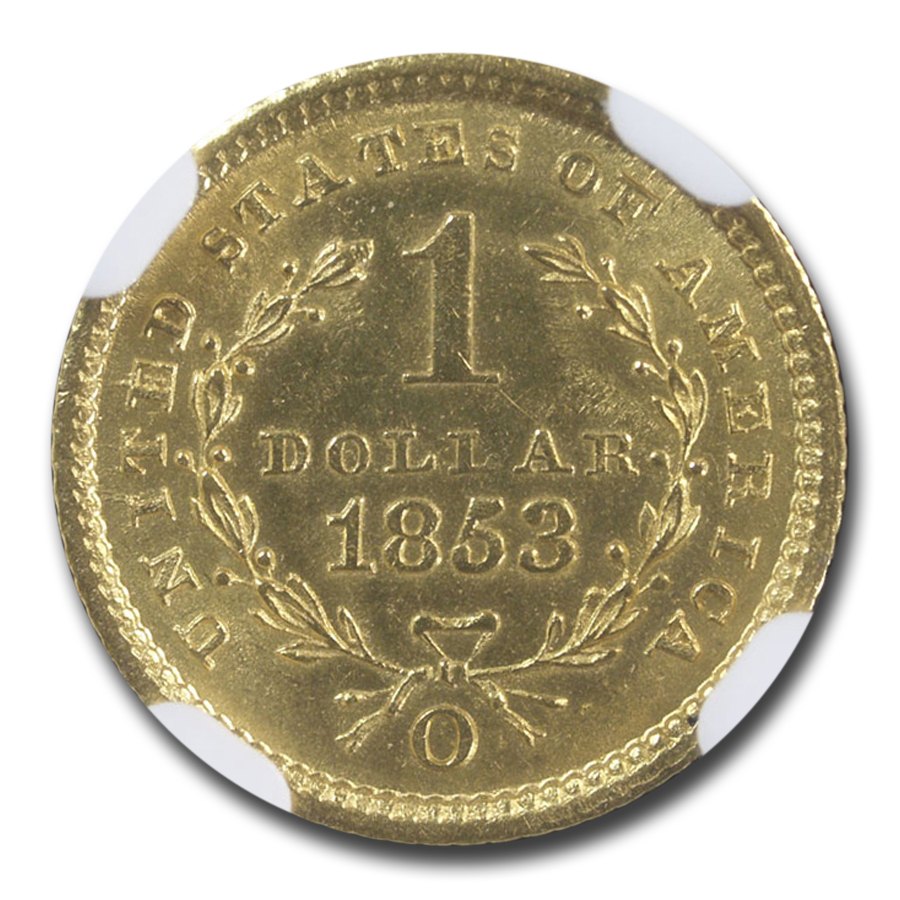 1853-O $1 Liberty Head Gold MS-62 NGC