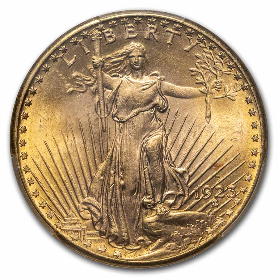 1923-D $20 St. Gaudens Gold Double Eagle MS-65 PCGS