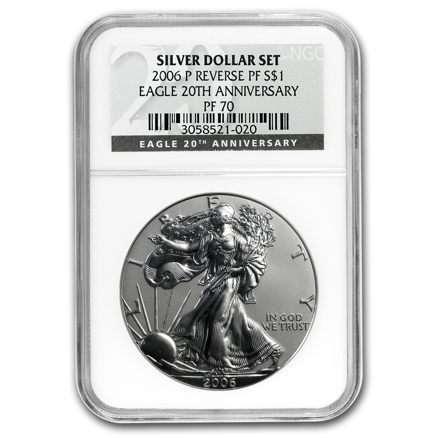 2006-P Reverse Proof Silver Eagle PF-70 NGC (Black Label)