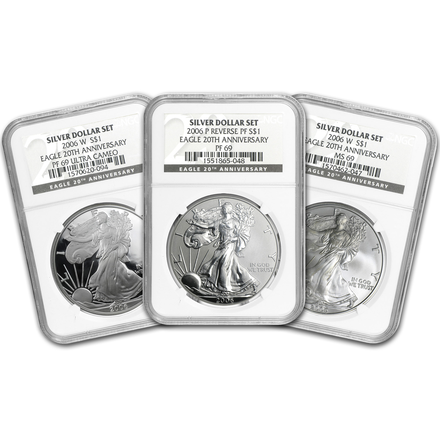 2006-W (3-Coin) Silver Eagle Set MS-69 & PF-69 UCAM NGC