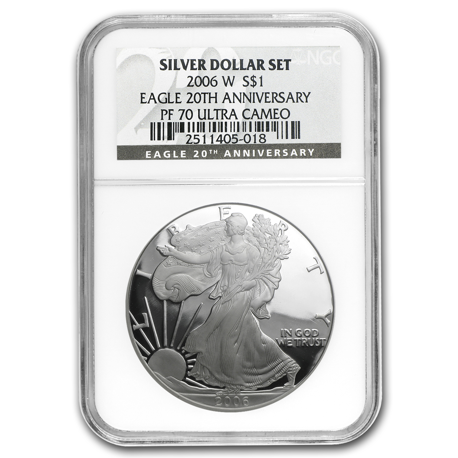 2006-W (Proof) Silver American Eagle PF-70 UCAM NGC Black Label
