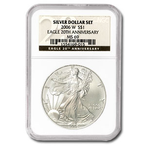 2006-W Burnished 1 oz Silver American Eagle MS-69 NGC Black Label