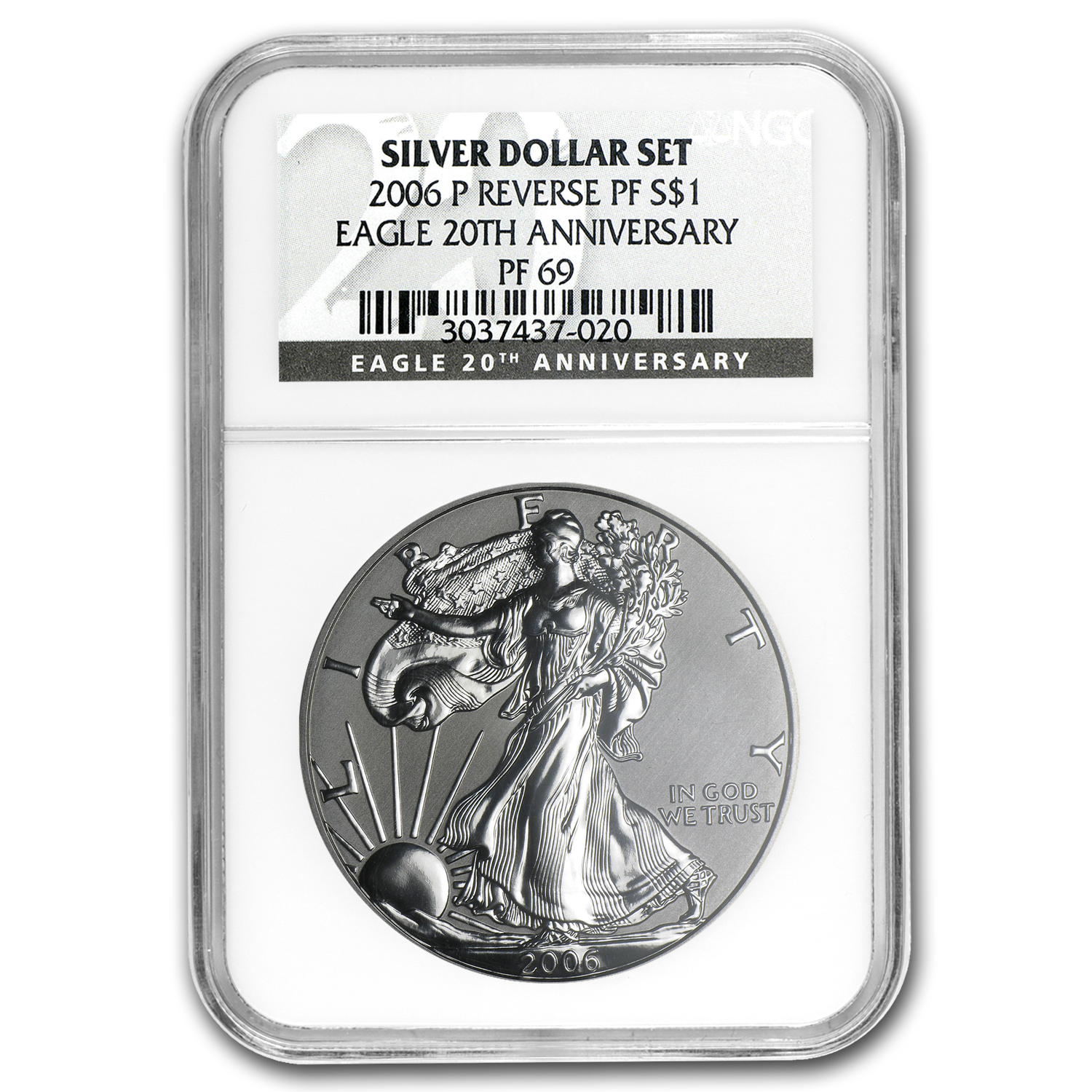 2006-P Reverse Proof Silver Eagle PF-69 NGC (20th Anniv)