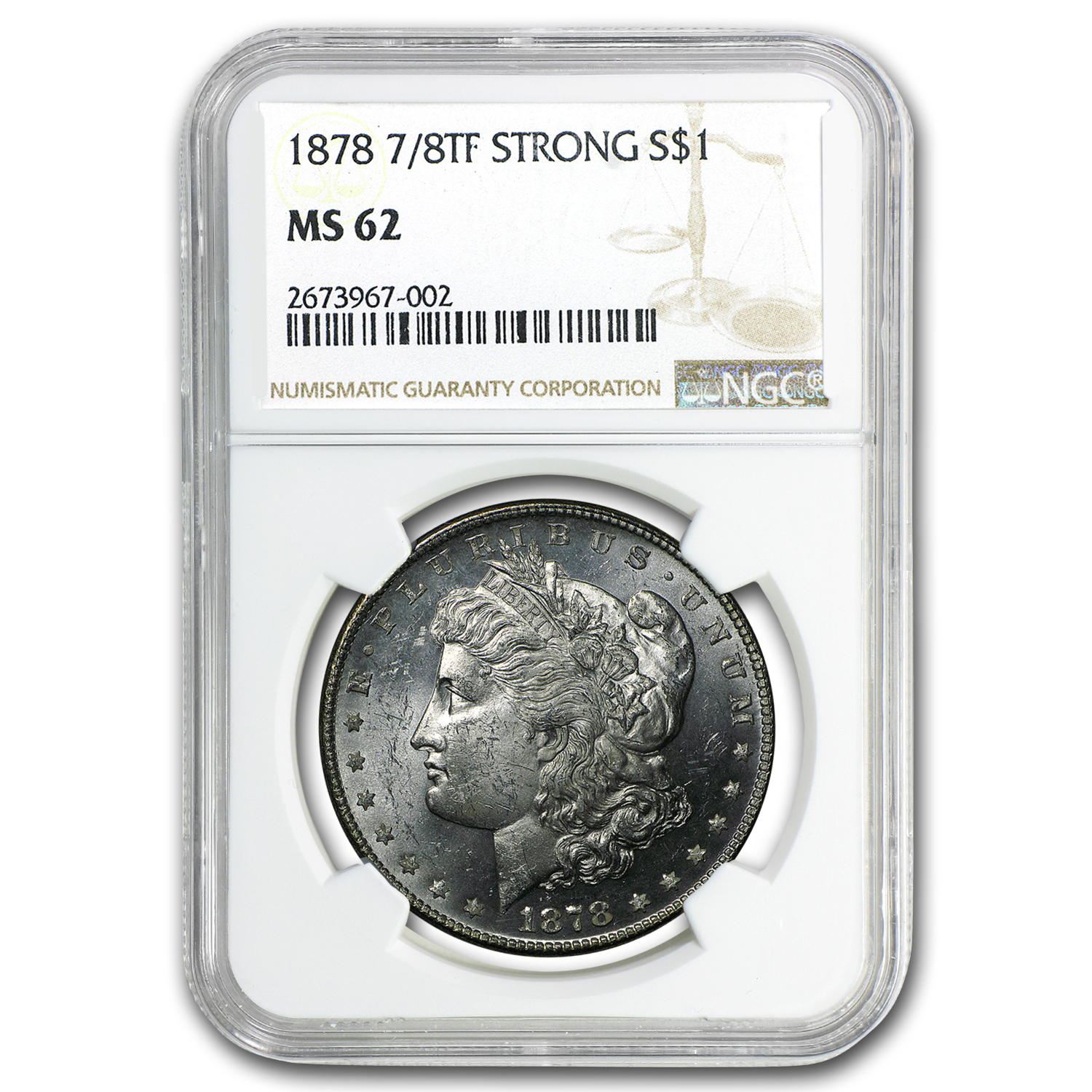 1878 Morgan Dollar 7/8 TF MS-62 NGC (Strong)