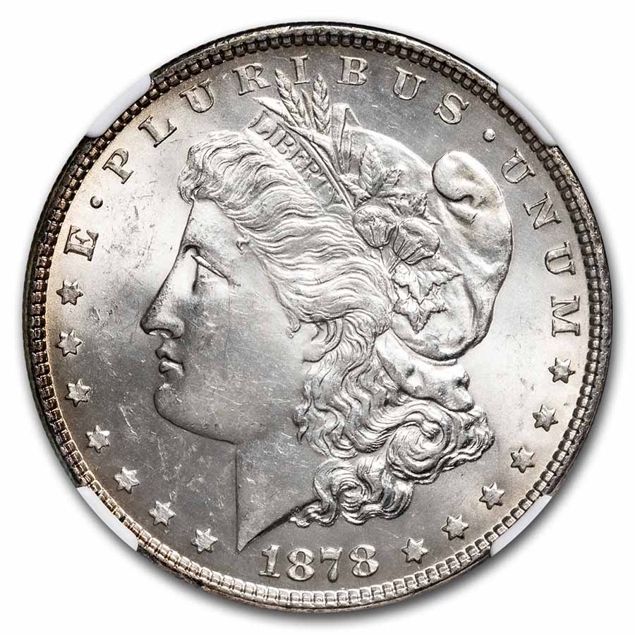 1878 Morgan Dollar 7 TF Rev of 78 MS-62 NGC