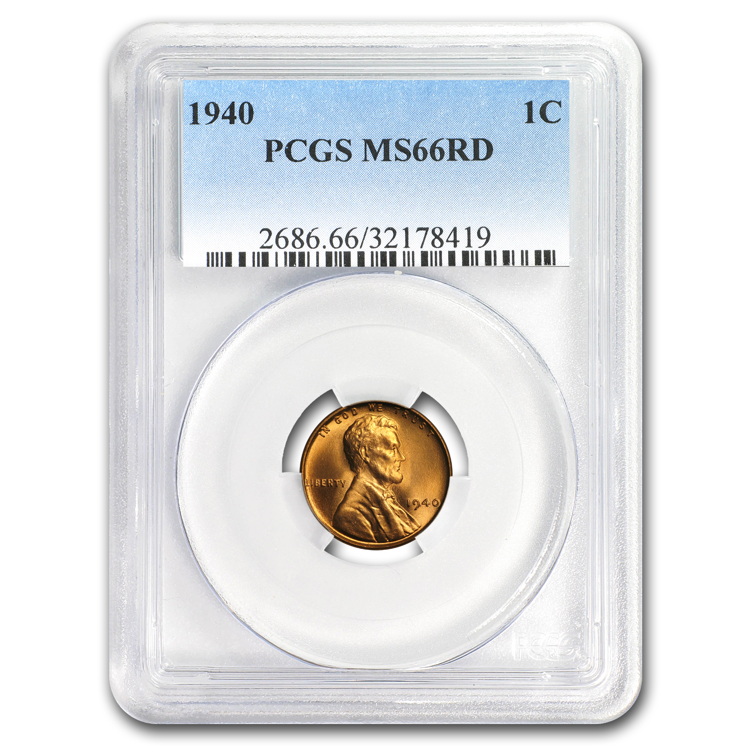 1940 Lincoln Cent MS-66 PCGS (Red)