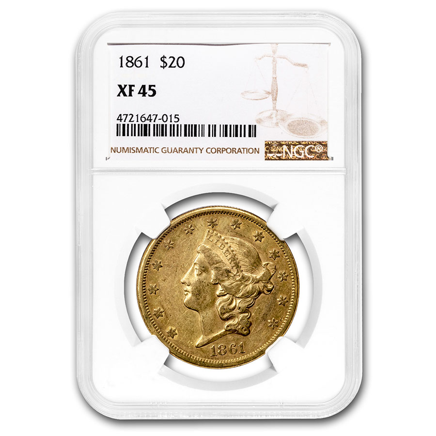 1861 $20 Gold Liberty Double Eagle - XF-45 NGC