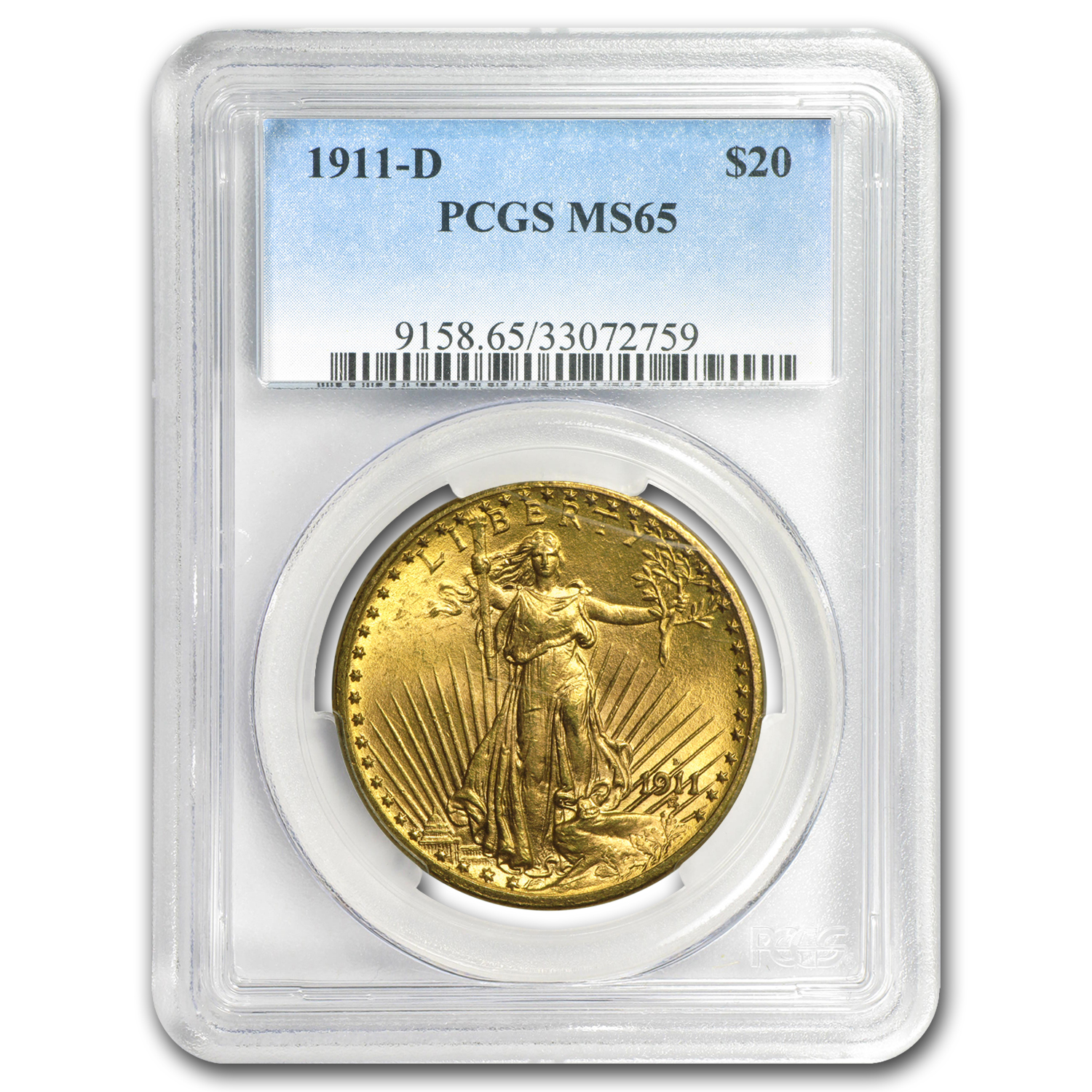 1911-D $20 St. Gaudens Gold Double Eagle MS-65 PCGS