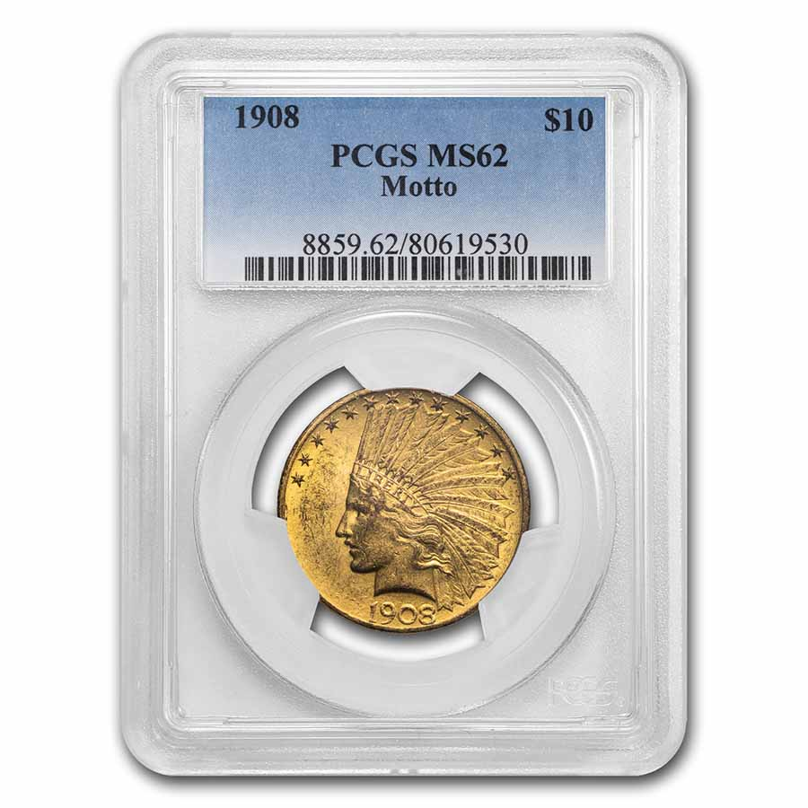 1908 $10 Indian Gold Eagle w/Motto MS-62 PCGS