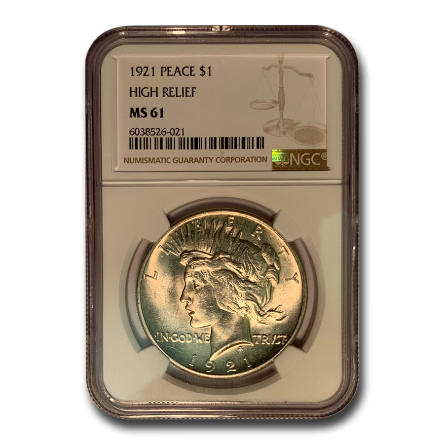 1921 Peace Dollar MS-61 NGC