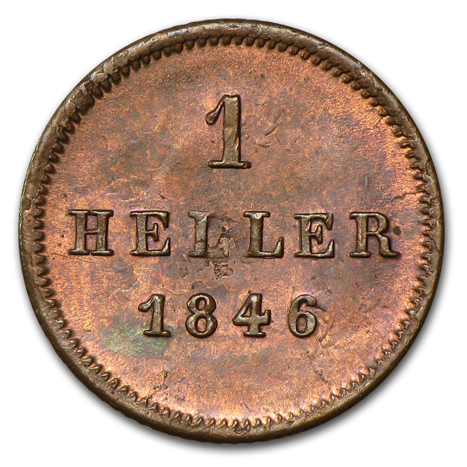 Bavaria 1846 Heller Red-Brown Unc