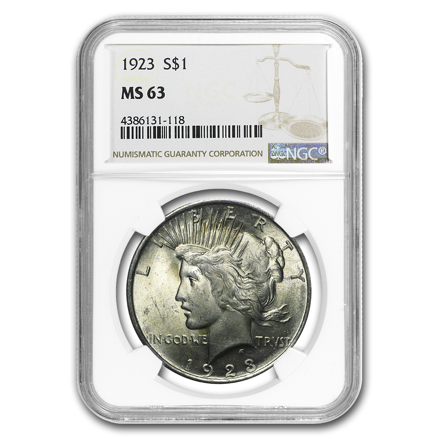 1923 Peace Dollar MS-63 NGC (Toning Obv & Rev)