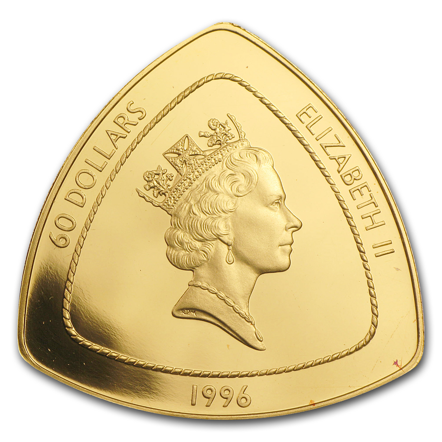 Bermuda 1996-1998 $60 Gold Proof Triangle Coin