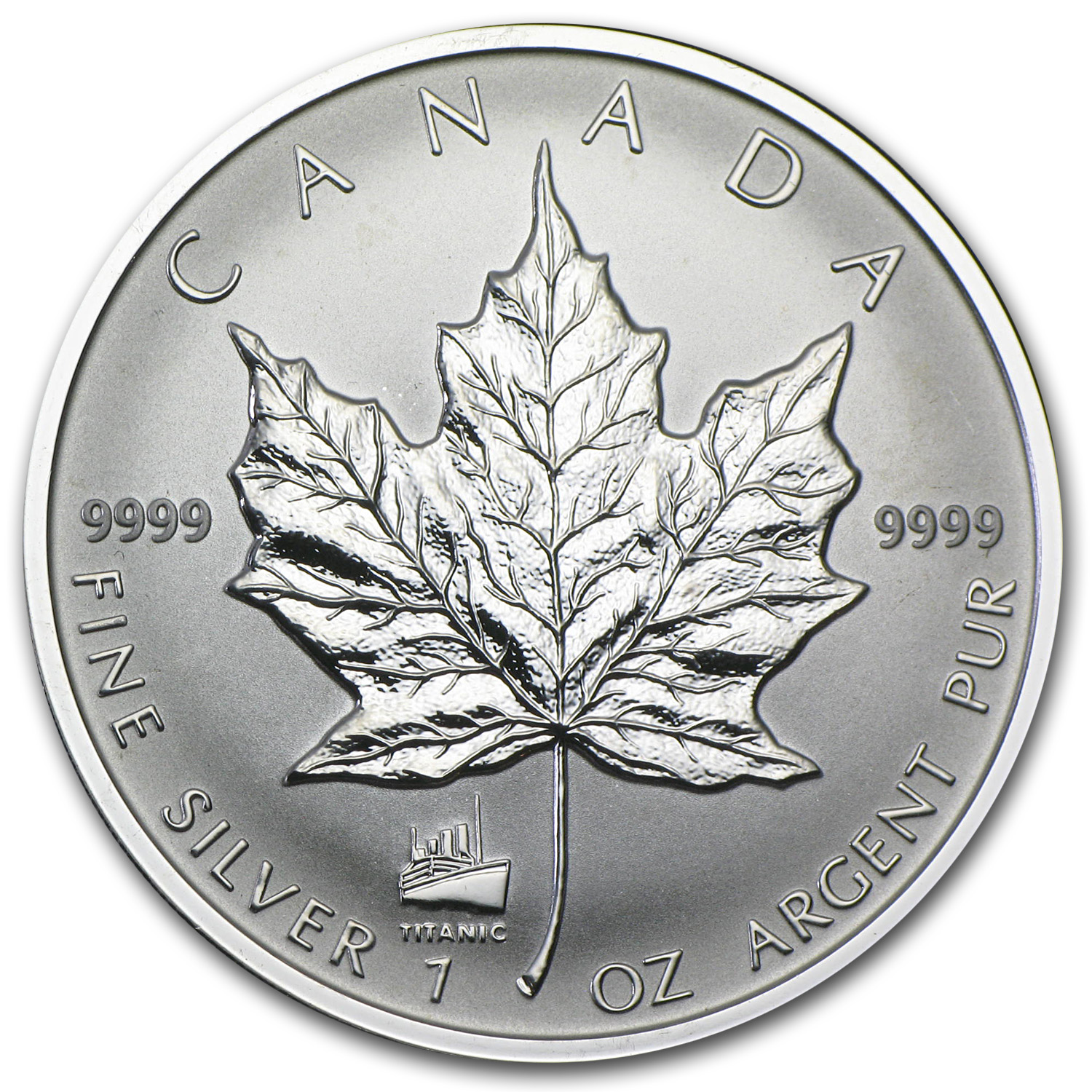 1998 1 oz Silver Canadian Maple Leaf - Titanic Privy