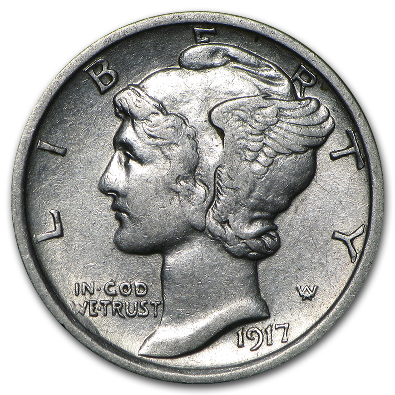 1917-D Almost Uncirculated - Mercury Dime