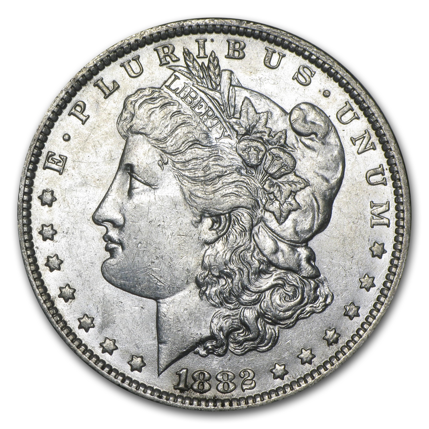 1882-O/S Morgan Dollar AU-58