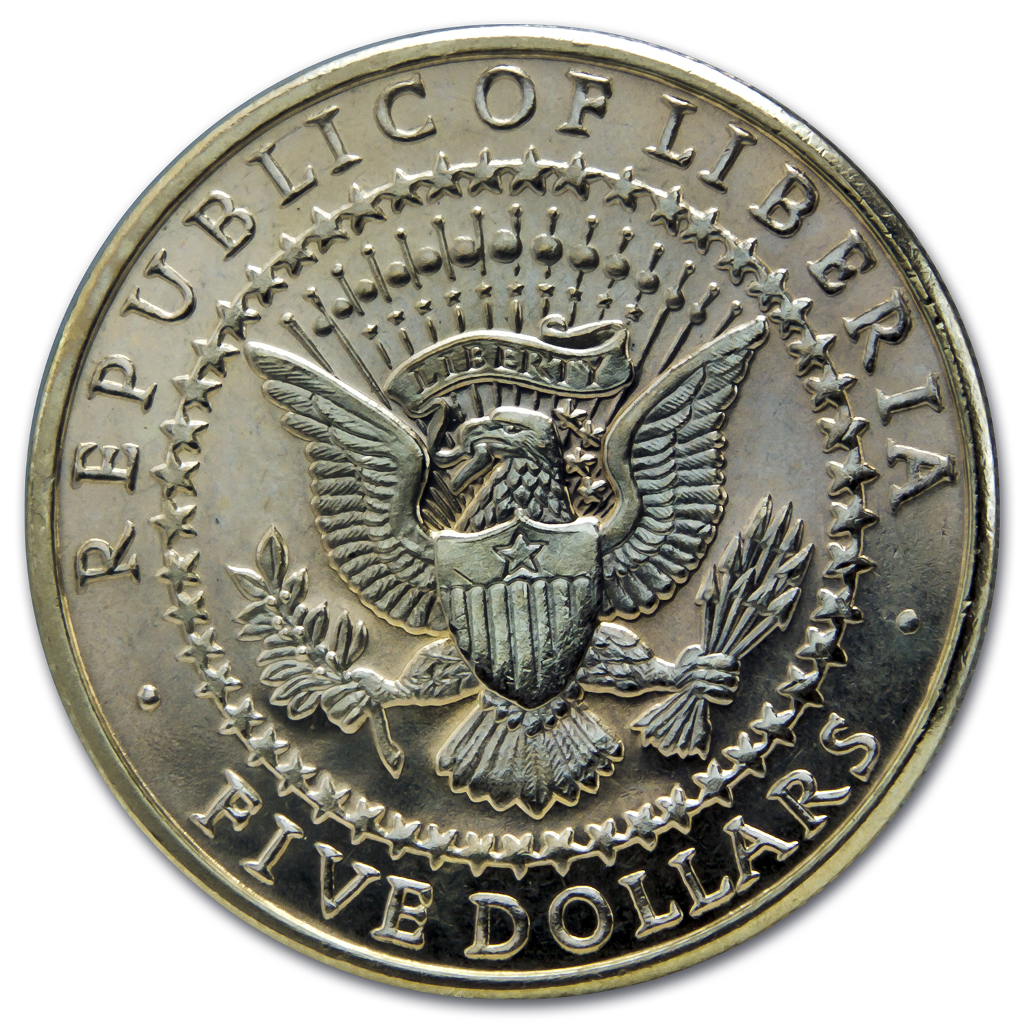 Liberia 2000 Five Dollar Copper- Nickel / Presidents Series