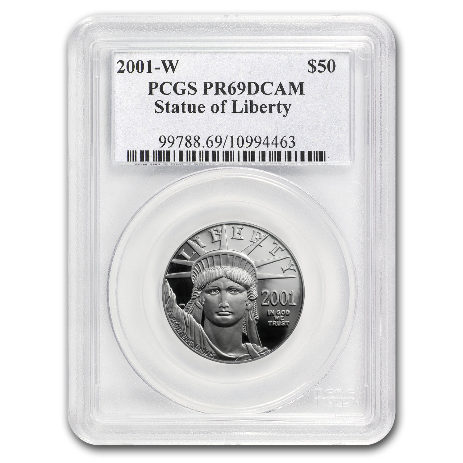 2001-W 1/2 oz Proof Platinum American Eagle PR-69 PCGS DCAM