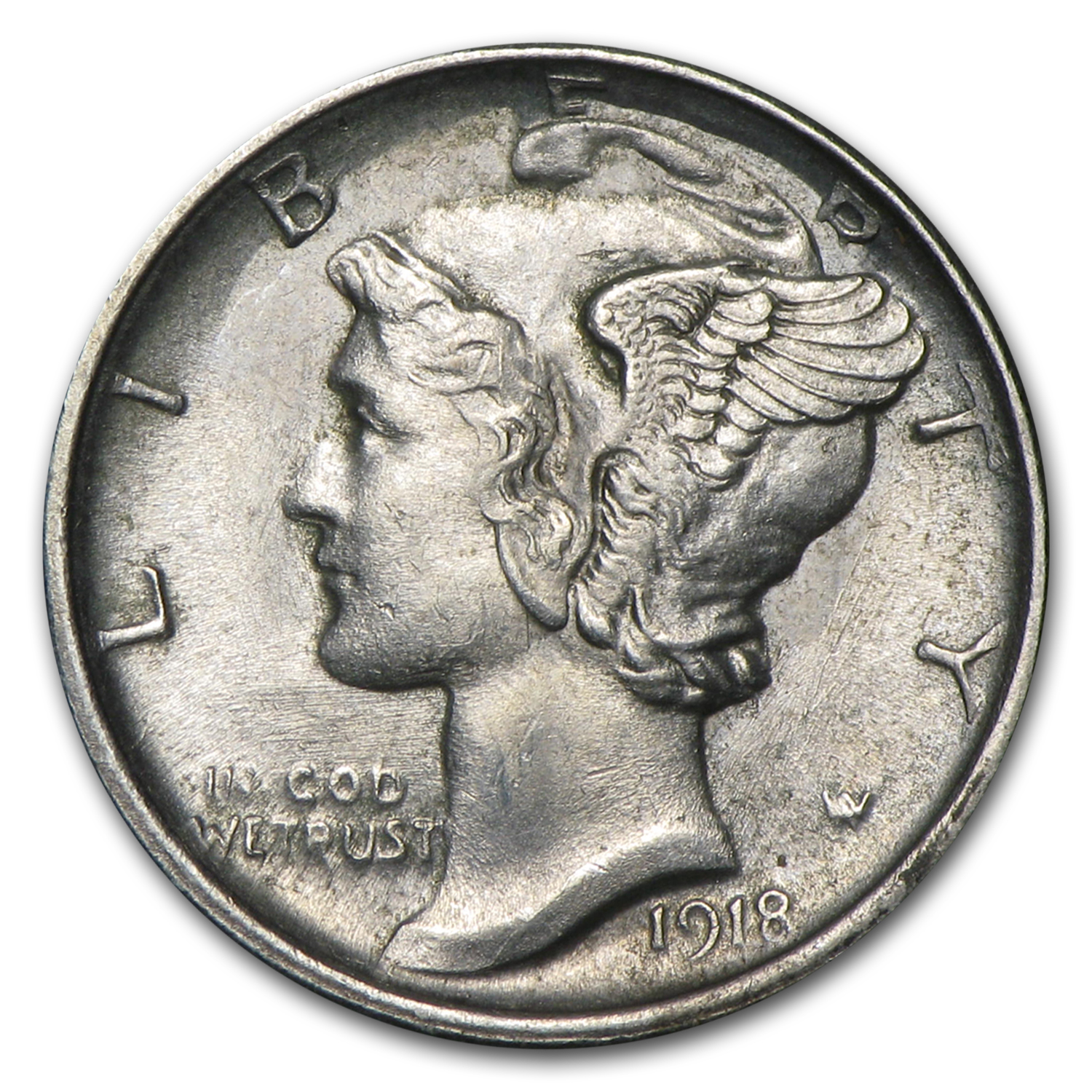 1918-S Almost Uncirculated - Mercury Dime