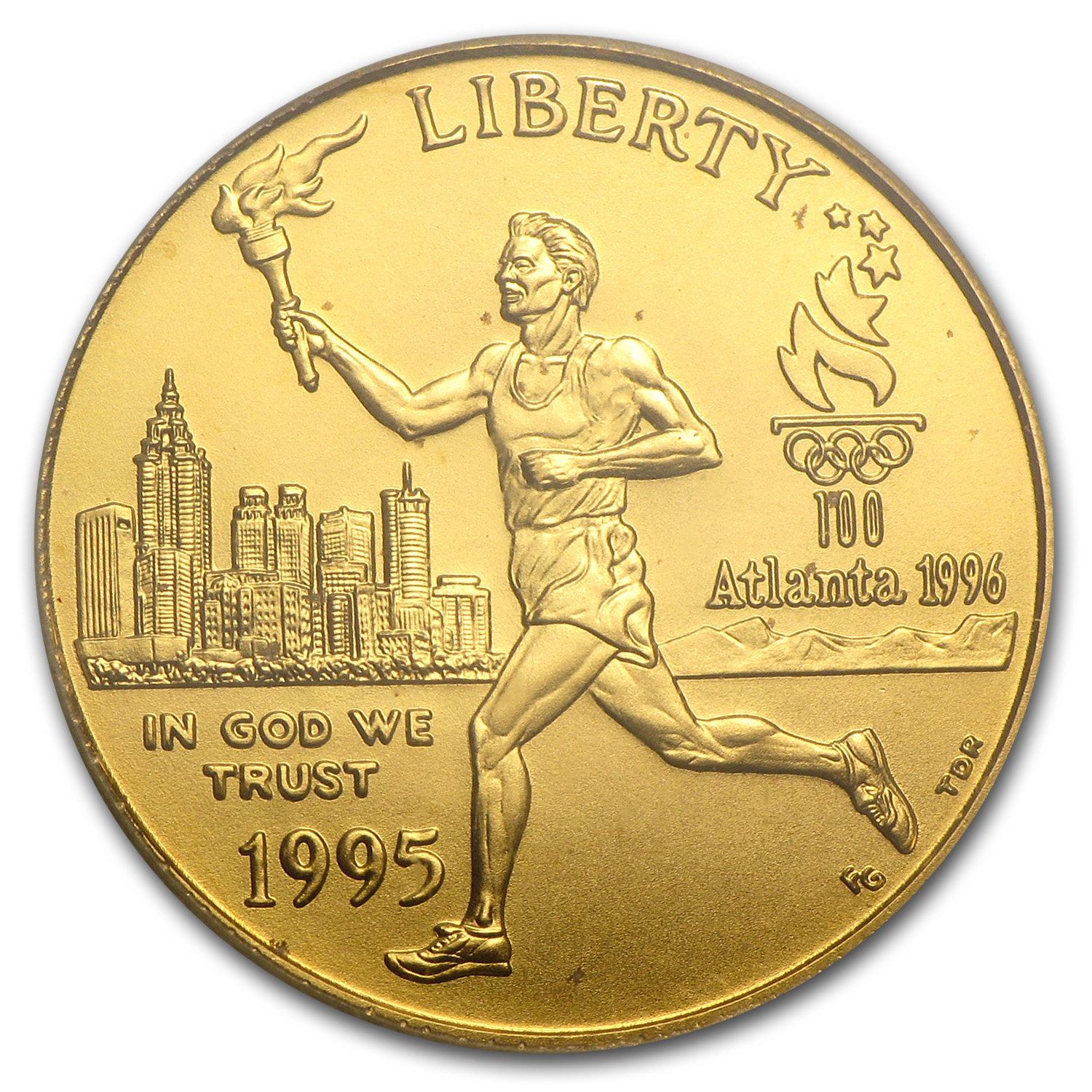 1995-W Olympic Torch Runner - $5 Gold Commemorative - MS-69 PCGS