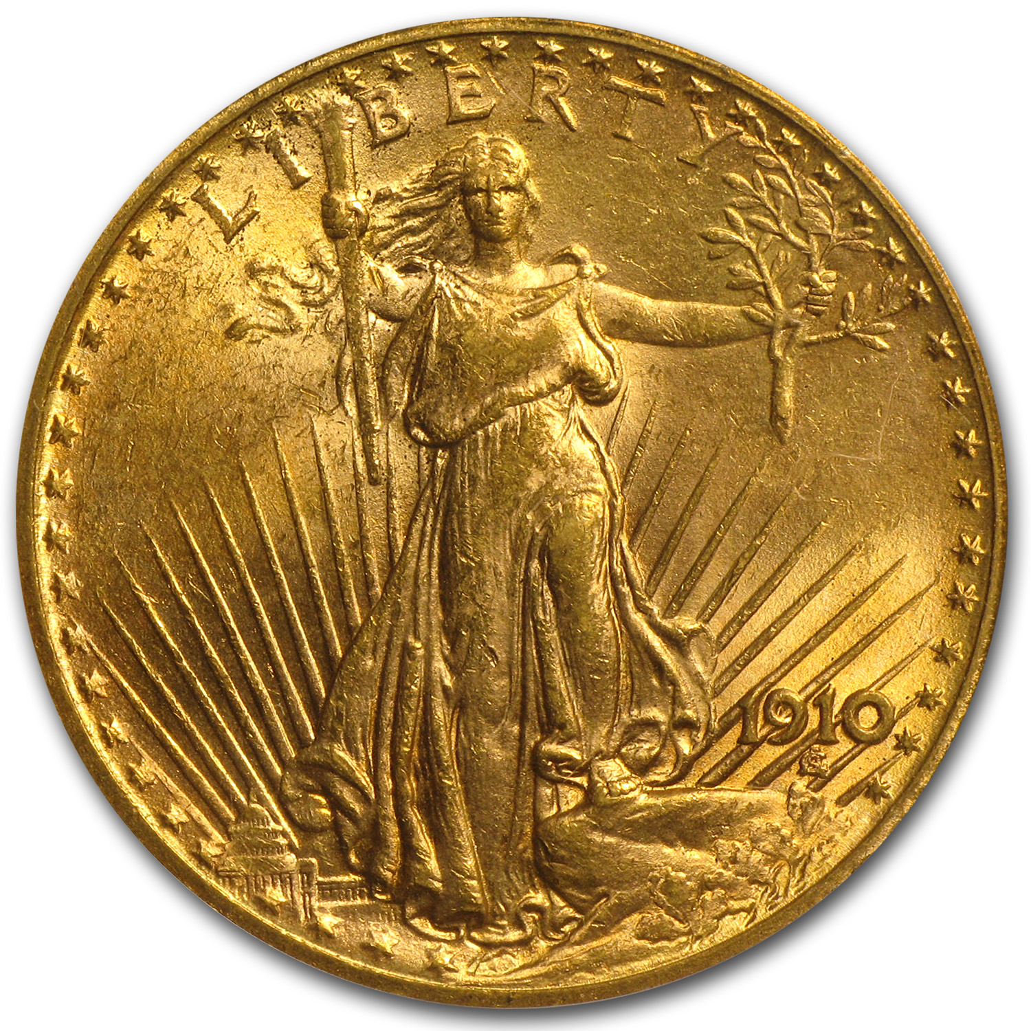 1910 $20 St. Gaudens Gold Double Eagle - MS-62 PCGS