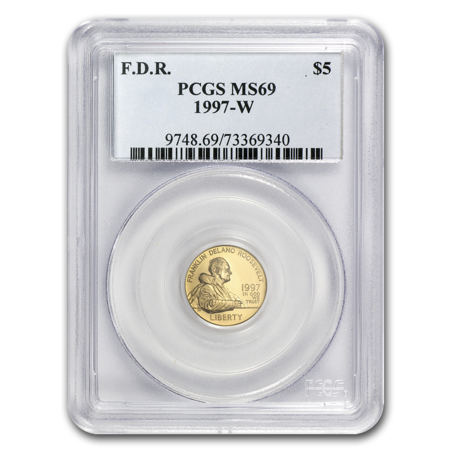 1997-W Gold $5 Commem Franklin D. Roosevelt MS-69 PCGS