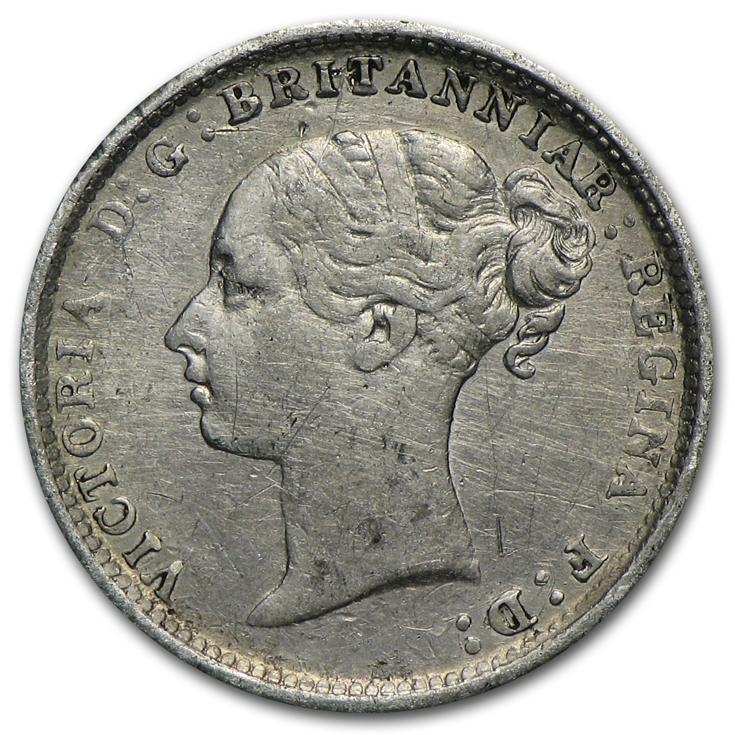 1884 Great Britain Silver 3 Pence Victoria VF/EF