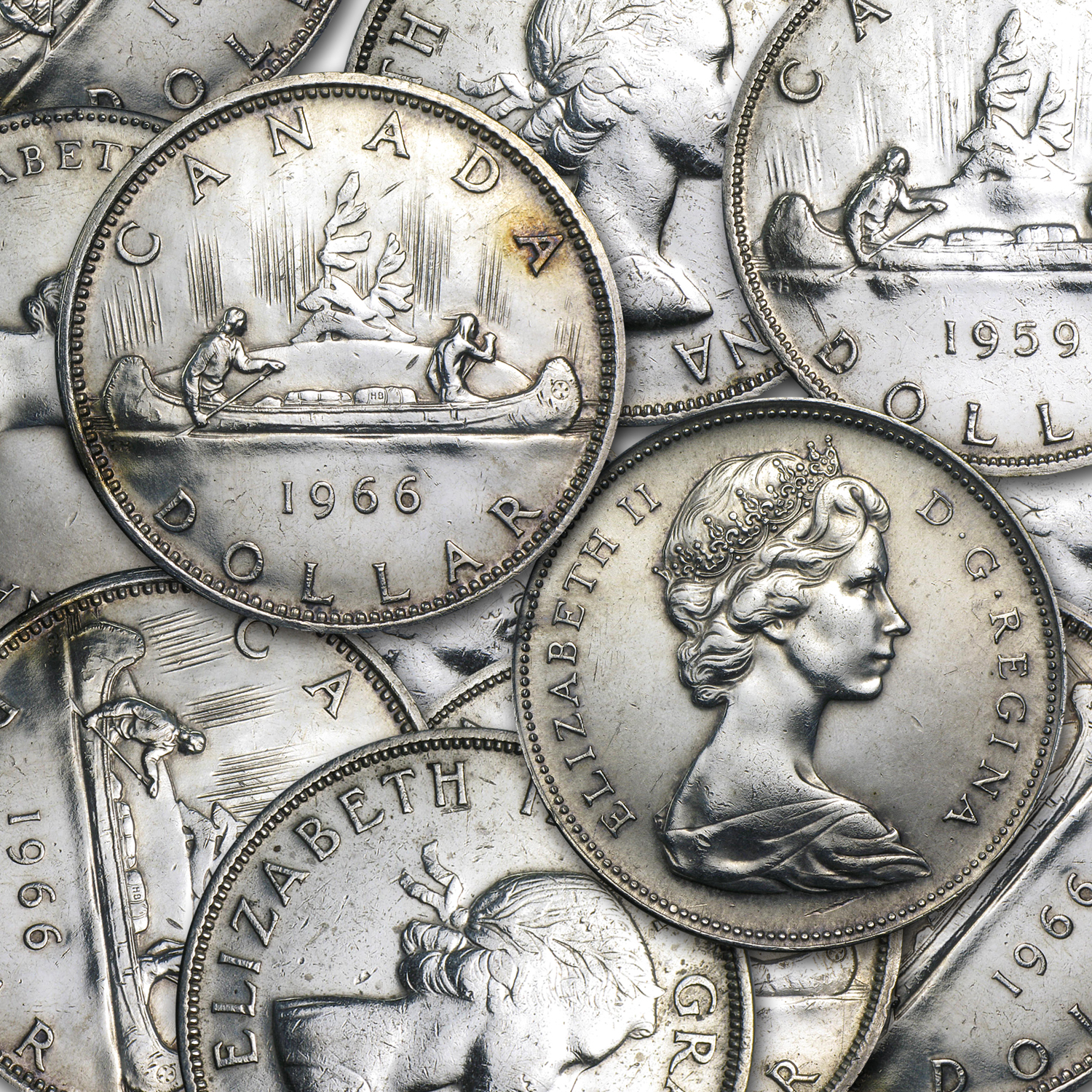 1958-1967 Canadian Silver Dollars (Average Circulated)