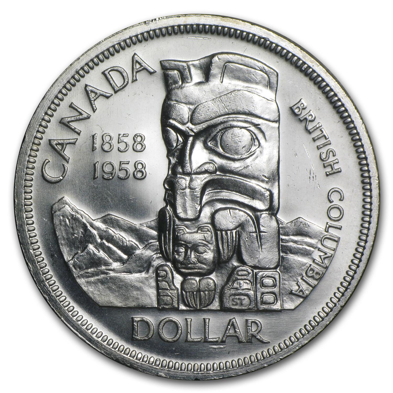 1958 Canada Dollar Silver Dollar Totem Pole Au Bu