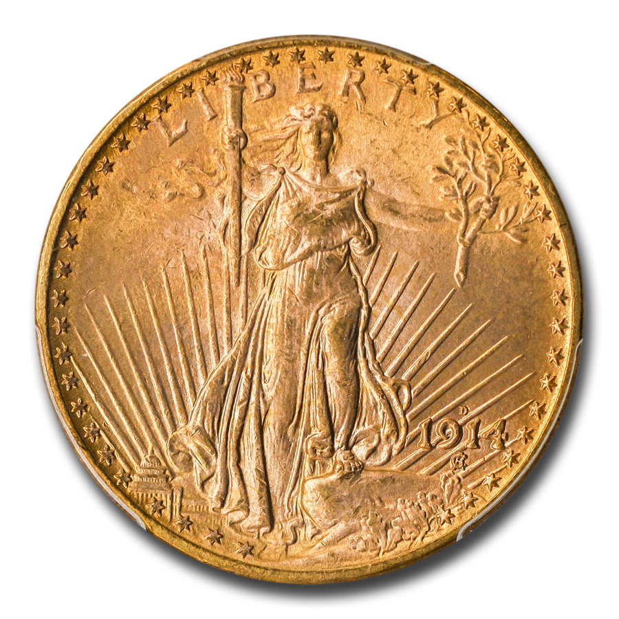 1914-D $20 St. Gaudens Gold Double Eagle MS-65 PCGS