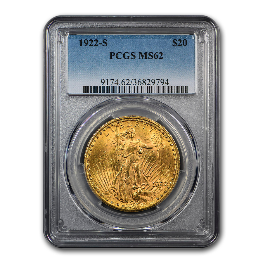 1922-S $20 St. Gaudens Gold Double Eagle MS-62 PCGS
