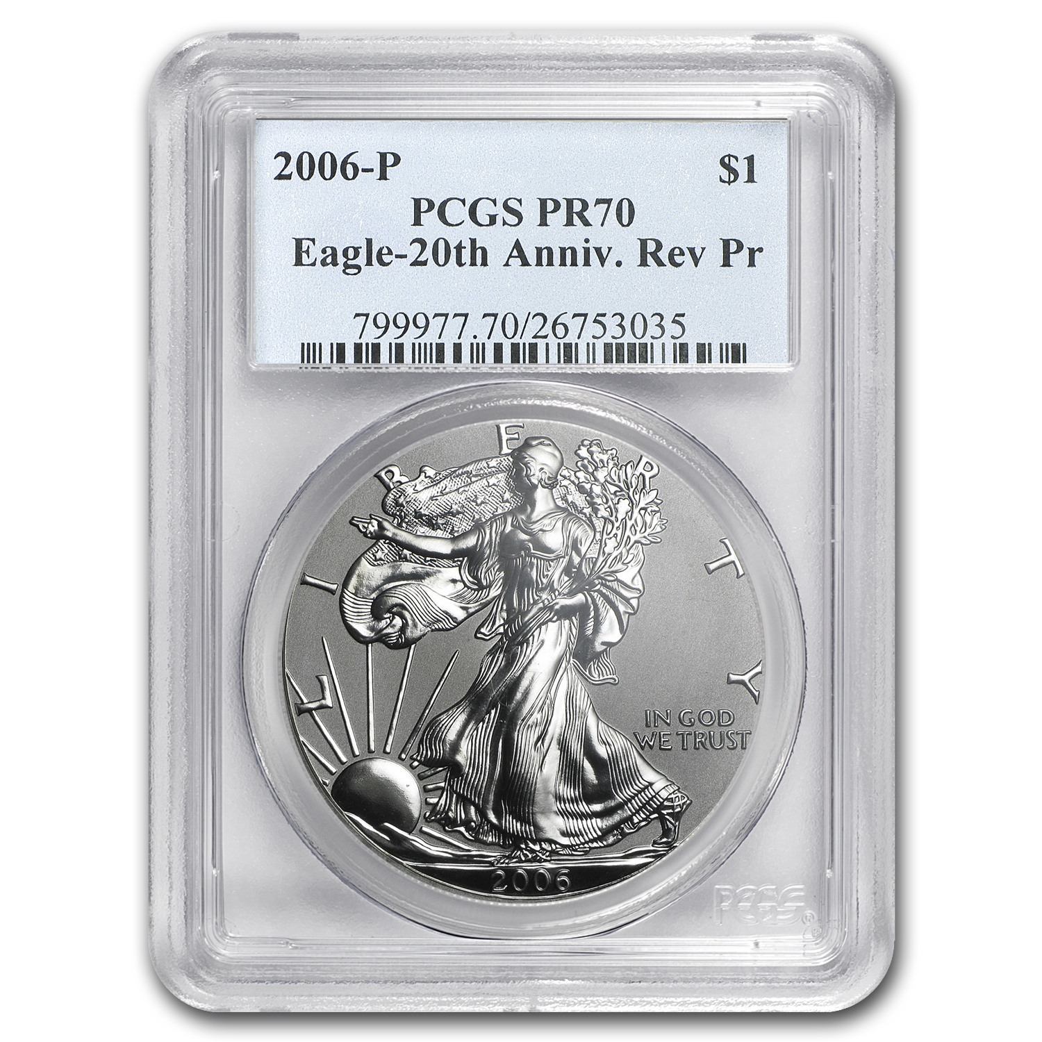 2006-P Reverse Proof Silver Eagle PR-70 PCGS (20th Anniv)