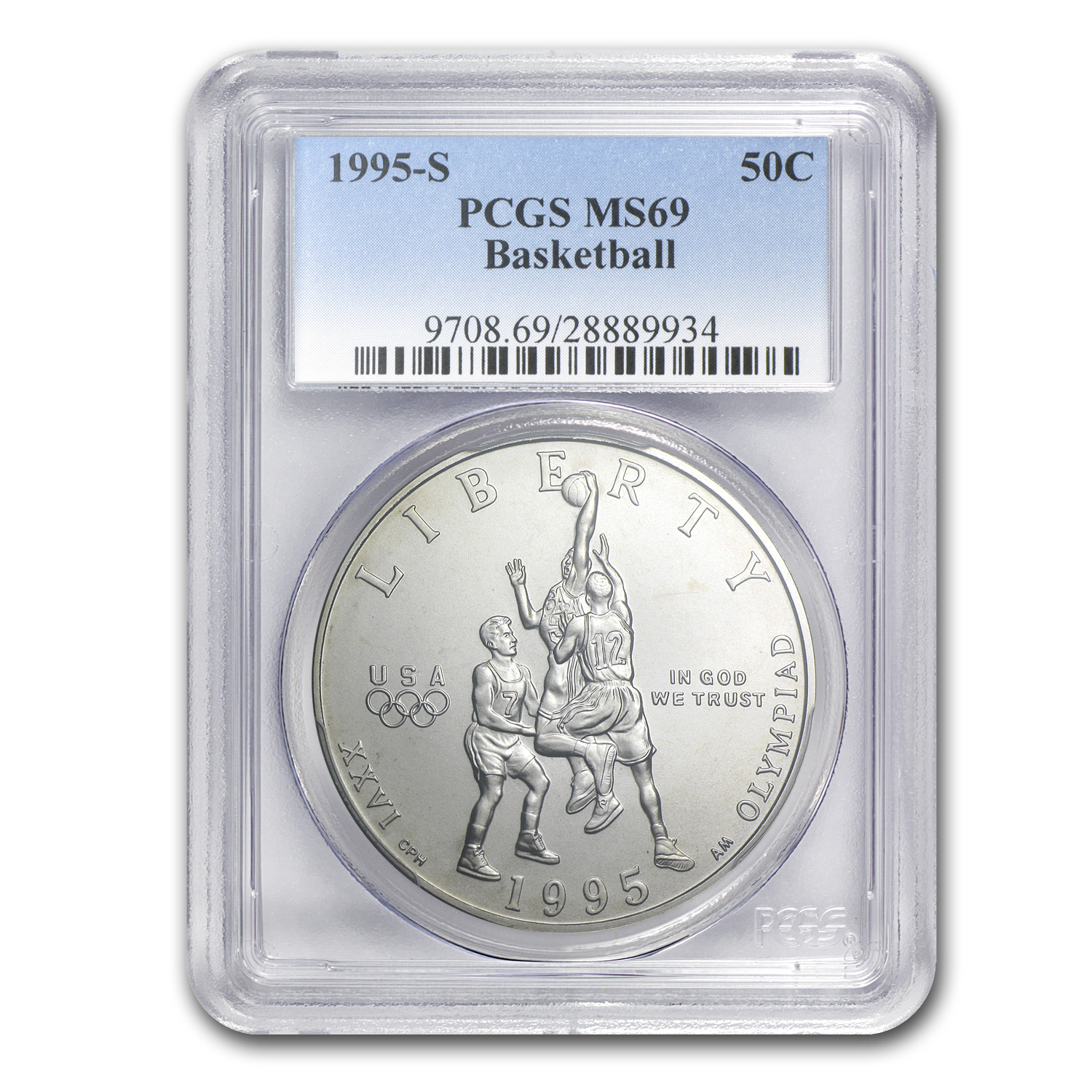 1995-S Olympic 1/2 Dollar Clad Commem MS-69 PCGS (Basketball)